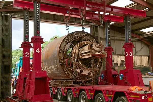 Heavy industrial equipment being moved
